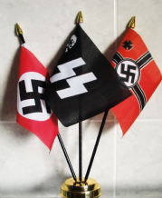 GERMAN WW2 (NAZI) TRIPLE - TABLE FLAG SET (GOLD BASE)